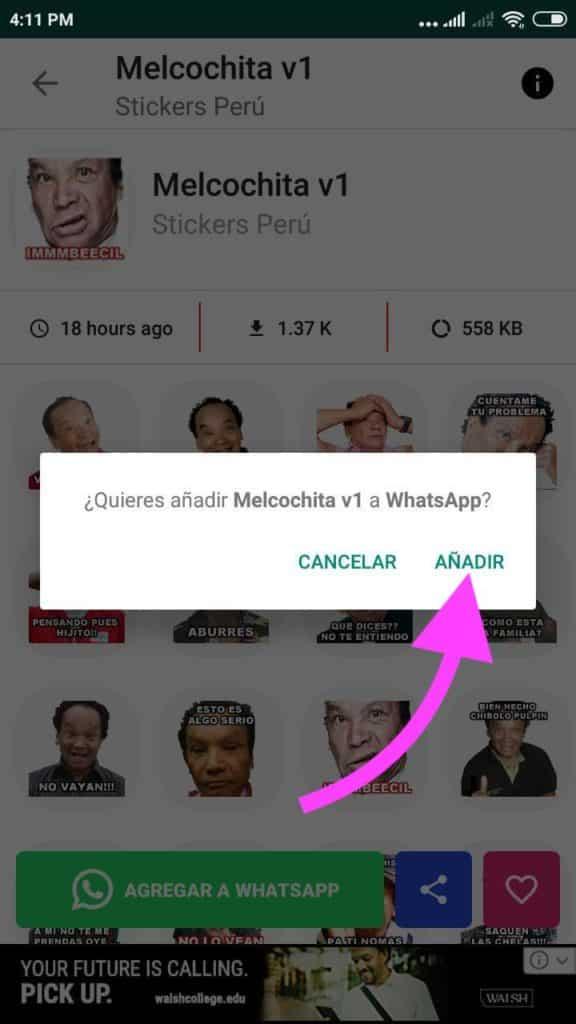 agregar stickers de famosos peruanos