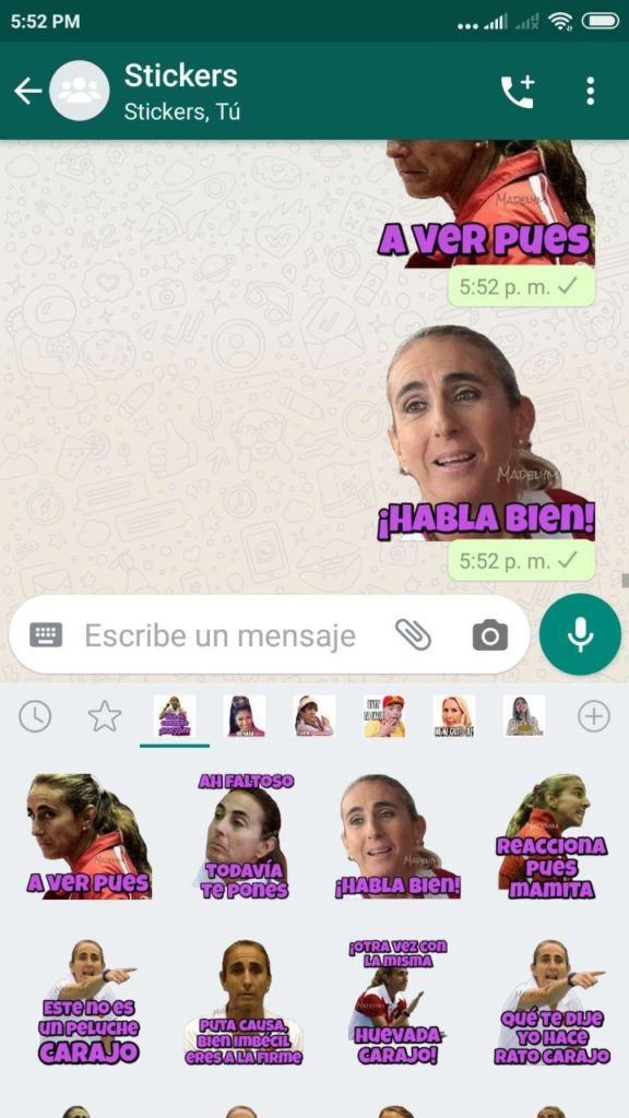 pack Stickers de Natalia Malaga para Whatsapp