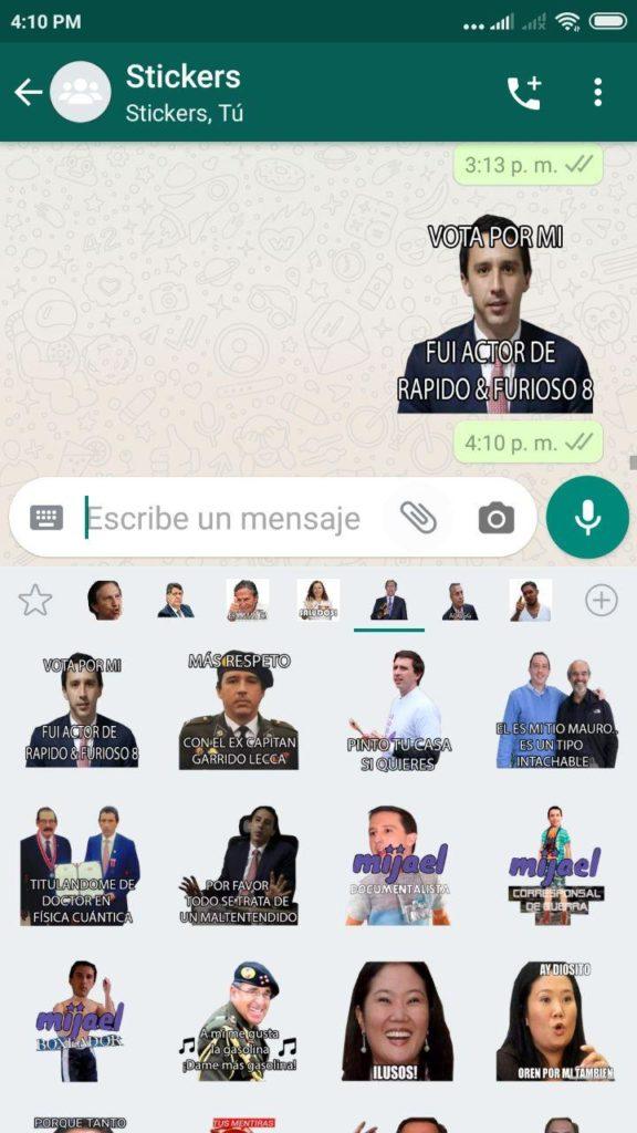 Stickers de Congresistas Peruanos Whatsapp
