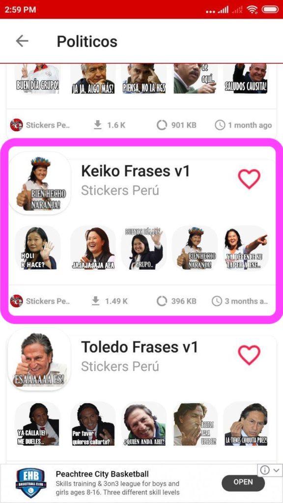 Stickers de Keiko Fujimori Whatsapp