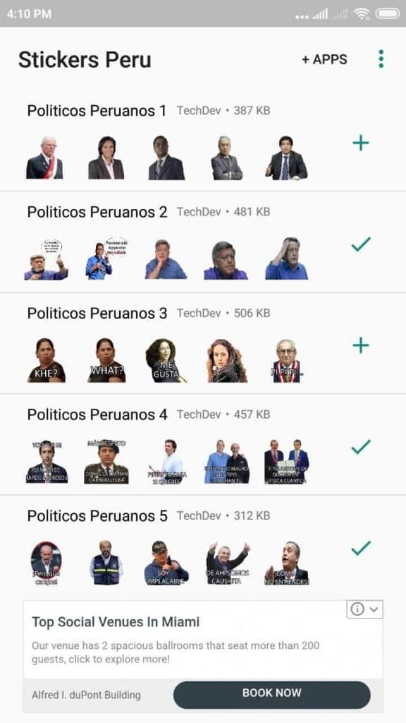 Stickers del congreso peruano para Whatsapp