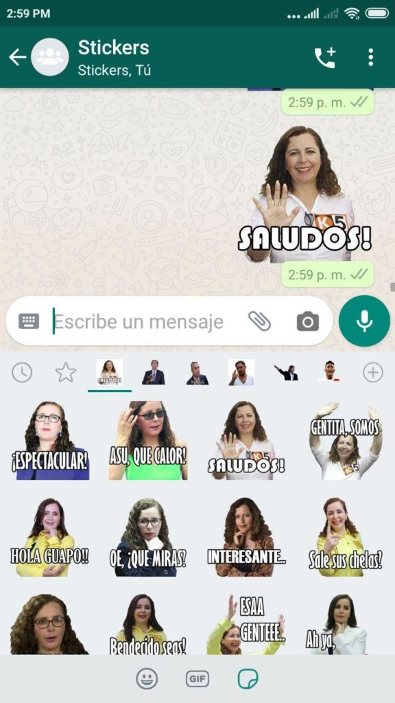 descargar stickers de Rosa Bartra para whatsapp