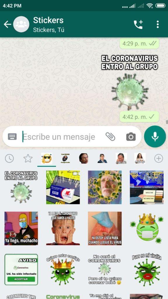 pack Stickers del coronavirus para Whatsapp