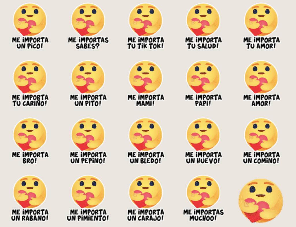 reaccion me importa stickers con frases